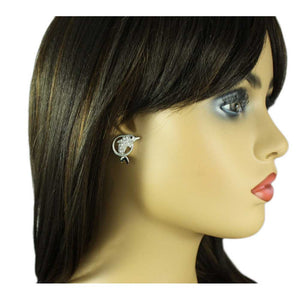 Model with Crystal Dolphin Jumping Through Hoop Pierced Earring - Lilylin Designs