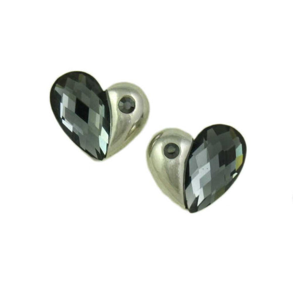 Silver with Faceted Black Diamond Crystal Heart Pierced Earring - Lilylin Designs