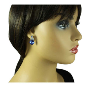 Model with Round Blue Crystal Inverted Flower Pierced Earring - Lilylin Designs
