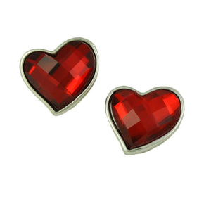 Red Faceted Glass Heart Valentine's Day Clip Earring - Lilylin Designs
