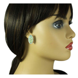 Model with Light Green Marquis Glass Surrounded by Clear Crystals Clip Earring - Lilylin Designs