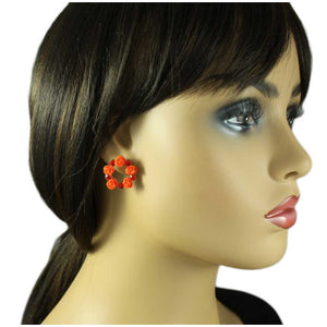 Model with Ring of Red Roses with Red Crystals Pierced Earring - Lilylin Designs