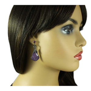 Model with Antique Silver-tone with Purple Acrylic Stone Drop Earring - Lilylin Designs