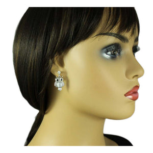 Model with Silver Owl with Light Gray Cats Eye Belly Dangling Pierced Earring - Lilylin Designs