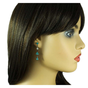 Model with Antique Blue Zircon Crystal Drops Pierced Earring - Lilylin Designs