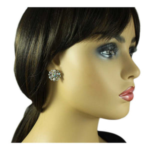 Model with Silver Cut-out Flower Studded with Pastel Crystals Pierced Earring - Lilylin Designs