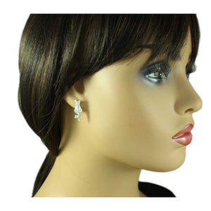 Model with Small Matte Silver Cat with Crystal Bow on Tail Pierced Earring - Lilylin Designs