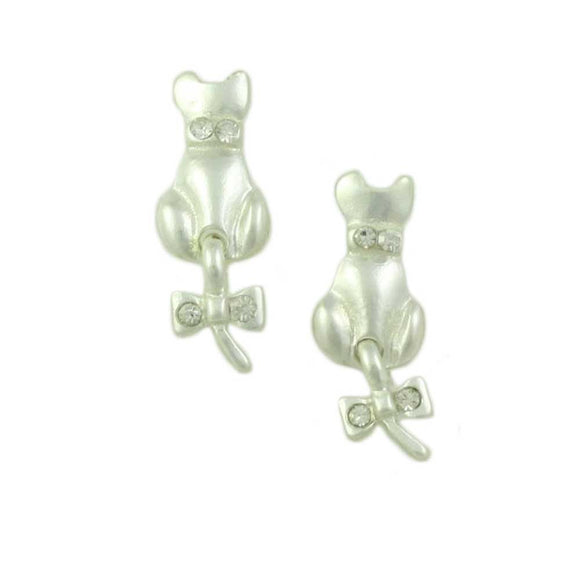 Frosted Silver-tone Cat with Crystal Bow on Tail Pierced Earring - Lilylin Designs