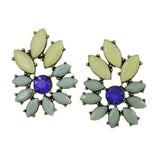 Blue and Cream Stone Pierced Earring - Lilylin Designs