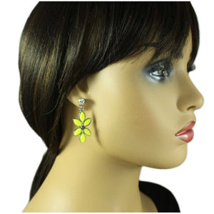 Model with Dangling Yellow Flower with Gray Hematite Crystal Pierced Earring - Lilylin Designs