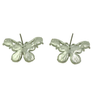 Gray Cats Eye Butterfly Edged with Crystals Pierced Earring (back) - Lilylin Designs