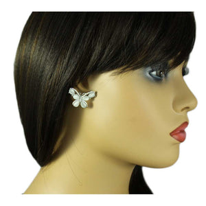 Model with Gray Cats Eye Butterfly Edged with Crystals Pierced Earring - Lilylin Designs