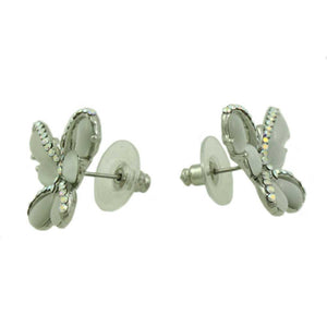 Gray Cats Eye Butterfly Edged with Crystals Pierced Earring (side) - Lilylin Designs