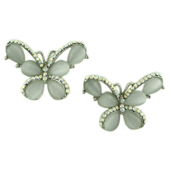 Gray Cats Eye Butterfly Edged with Crystals Pierced Earring - Lilylin Designs