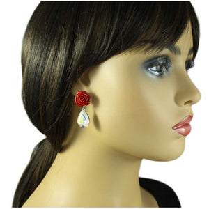 Model with Red Rose with Aurora Borealis Crystal Teardrop Pierced Earring - Lilylin Designs