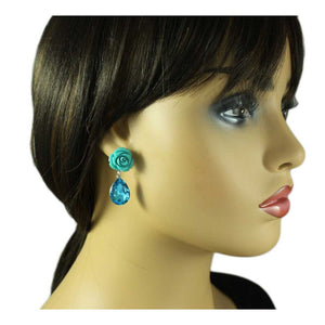 Model with Blue Rose with Dangling Large Blue Crystal Teardrop Pierced Earring - Lilylin Design