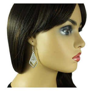 Model with Gray Beads and Crystals Diamond Shape Dangling Pierced Earring - Lilylin Designs