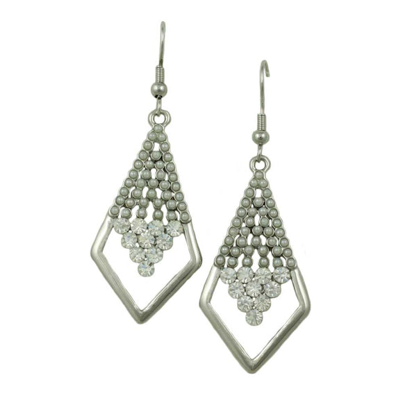Gray Beads and Crystals Diamond Shape Dangling Pierced Earring - Lilylin Designs