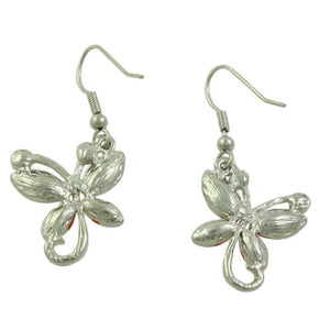 Red Crystal Dangling Butterfly Pierced Earring (back) - Lilylin Designs