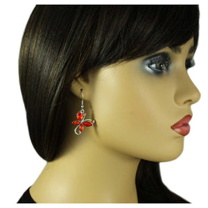 Model with Red Crystal Dangling Butterfly Pierced Earring - Lilylin Designs
