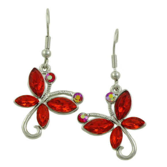 Red Crystal Dangling Butterfly Pierced Earring - Lilylin Designs