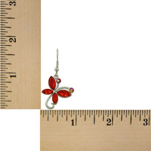 Red Crystal Dangling Butterfly Pierced Earring (sized) - Lilylin Designs
