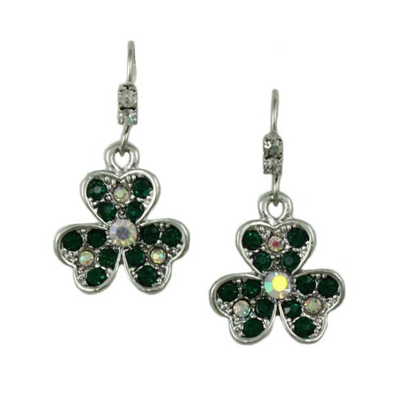 Emerald Green Crystal Shamrock Dangling Pierced Earring - Lilylin Designs