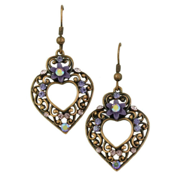 Copper Heart with Purple Flowers and Crystals Pierced Earring - Lilylin Designs