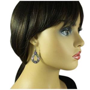 Model with Antique Silver Dark and Light Purple Flower Teardrop Pierced Earring - Lilylin Designs