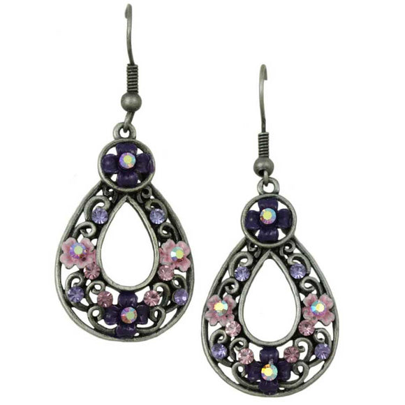 Antique Silver Dark and Light Purple Flower Teardrop Pierced Earring - Lilylin Designs