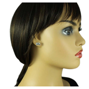 Model with Tiny Silver Textured Owl Head with Blue Crystal Eyes Pierced Earring - Lilylin Designs