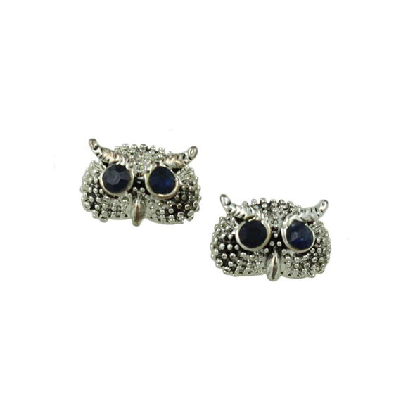 Tiny Silver Textured Owl Head with Blue Crystal Eyes Pierced Earring - Lilylin Designs