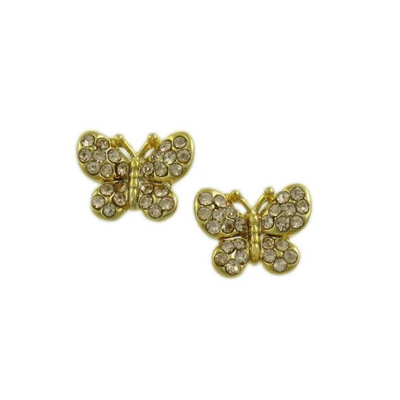 Tiny Light Brown Crystal Butterfly Stud Pierced Earring - Lilylin Designs