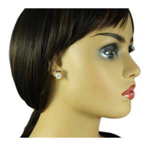 Model with Tiny Crystal Owl with Large Dark Blue Eyes Pierced Earring - Lilylin Designs