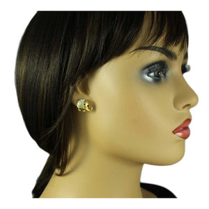 Model with Small Gold Crystal Chubby Elephant Pierced Earring - Lilylin Designs