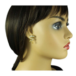 Model with Gold and Clear Crystals Hissing Snake Pierced Earring - Lilylin Designs