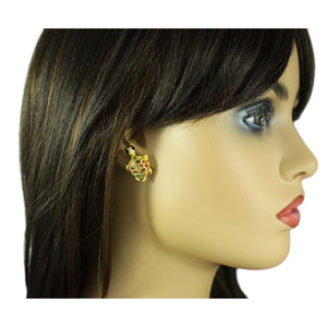 Model with Cute Pastel Crystal Turtle with Black Eyes Pierced Earring - Lilylin Designs