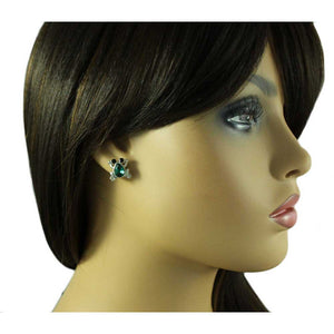 Model with Little Leaping Green Crystal Frog with Black Eyes Pierced or Clip Earring - Lilylin Designs