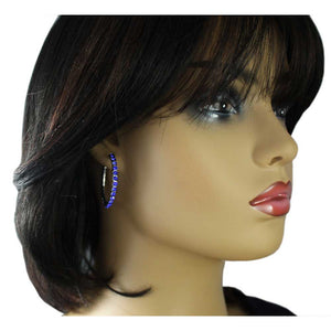 Model with Cobalt Blue Crystal Medium Size Hoop Pierced Earring - Lilylin Designs