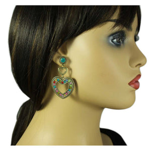 Model with Colorful Crystals Large Heart Dangling Pierced Earring - Lilylin Designs