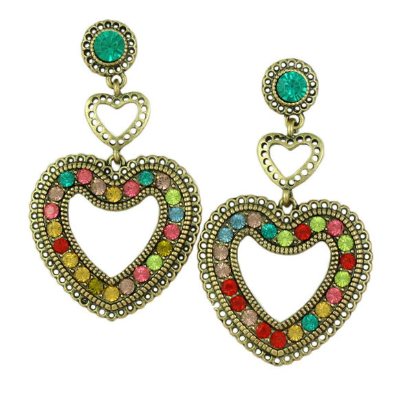 Colorful Crystals Large Heart Dangling Pierced Earring - Lilylin Designs
