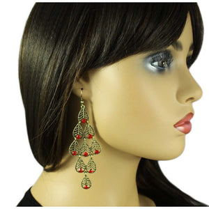 Model with Dangling Filigree Leaves with Red Crystals Pierced Earring - Lilylin Designs