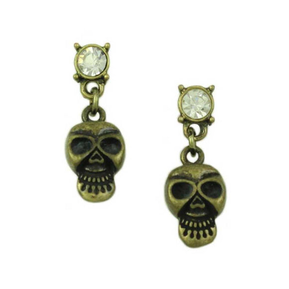 Bronze Skull with Crystal Halloween Pierced Earring - Lilylin Designs