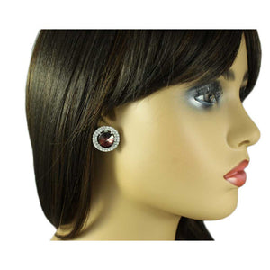 Model with Round Burgundy Crystal Pierced Earring - Lilylin Designs