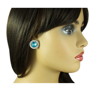 Model with Round Aquamarine Crystal Pierced Earring - Lilylin Designs