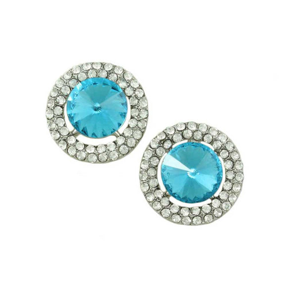 Round Blue Crystal Pierced Earring - Lilylin Designs