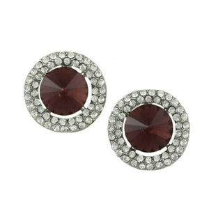 Round Burgundy Crystal Pierced Earring  - Lilylin Designs