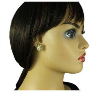 Model with Small Clear Belly Owl with Dark Crystal Eyes Pierced Earring - Lilylin Designs