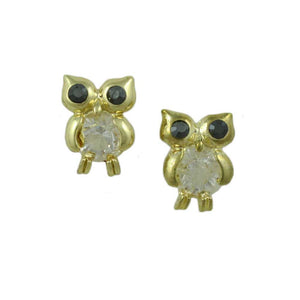 Small Clear Belly Owl with Dark Crystal Eyes Pierced Earring - Lilylin Designs