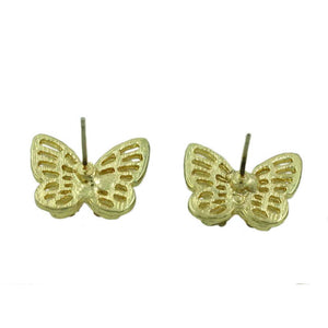 3D Double Gold and Tan Crystal Butterfly Pierced Earring (back) - Lilylin Designs